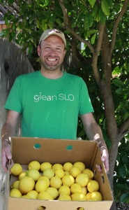 Josh at a backyard lemon glean, photo by Carolyn Eicher